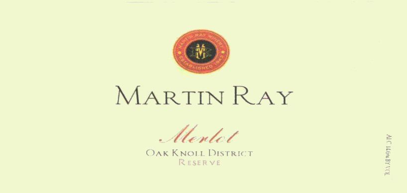 Martin Ray Oak Knoll District Reserve Merlot 2010  Front Label