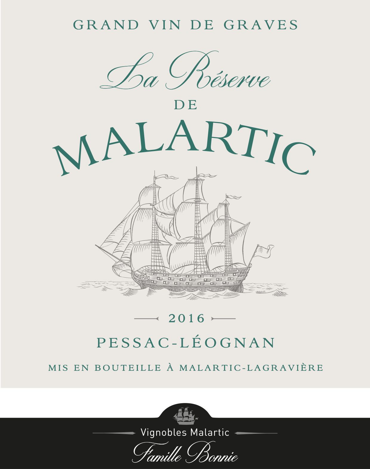 Chateau Malartic-Lagraviere  2016  Front Label