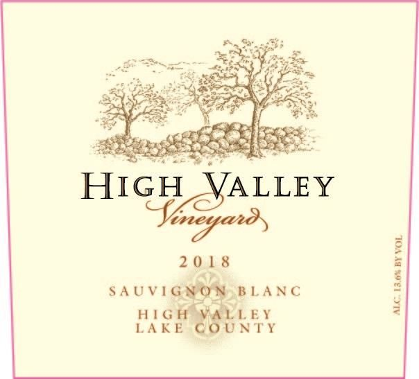 High Valley Vineyards Sauvignon Blanc 2018 Front Label