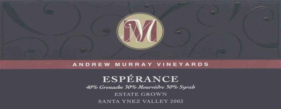 Andrew Murray Esperance Red Blend 2003 Front Label