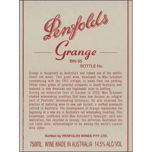 Penfolds Grange 1995  Front Label