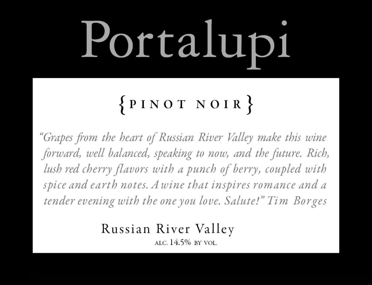 Portalupi Russian River Valley Pinot Noir 2014  Front Label