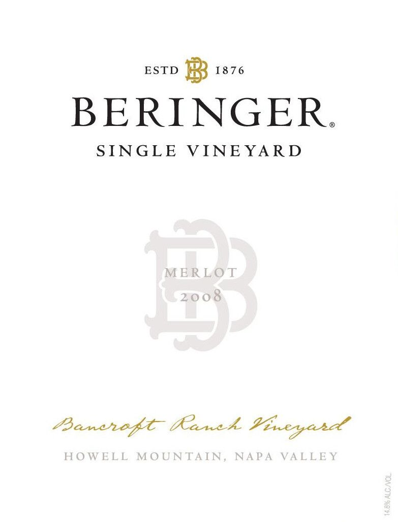 Beringer Bancroft Ranch Vineyard Merlot 2007 Front Label