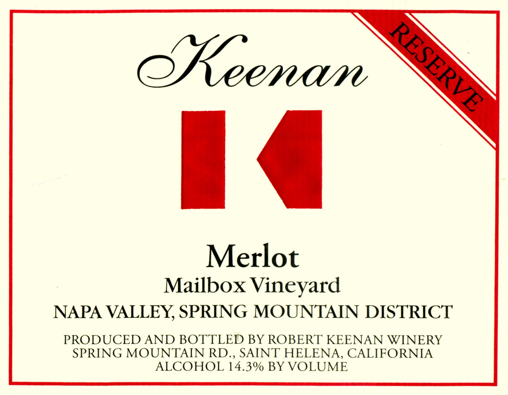Keenan Mailbox Vineyard Spring Mountain Reserve Merlot 2012  Front Label