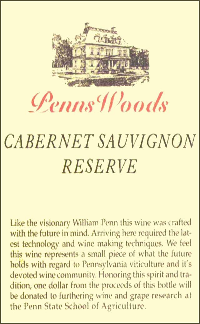Penns Woods Winery Reserve Cabernet Sauvignon 2013 Front Label