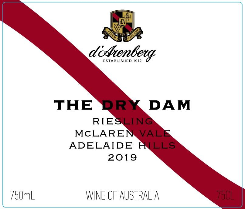 d'Arenberg The Dry Dam Riesling 2019  Front Label