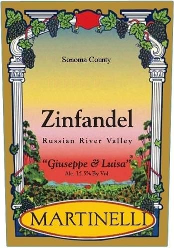 Martinelli Giuseppe and Luisa Zinfandel 2016 Front Label