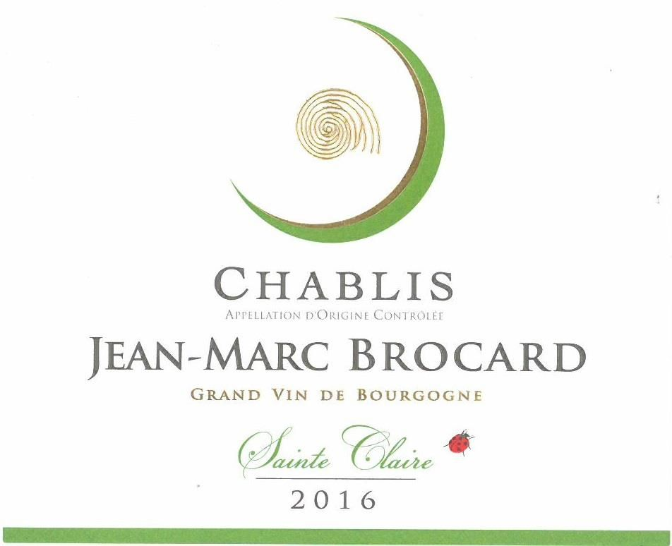 Brocard Sainte Claire Chablis (375ML half-bottle) 2016  Front Label