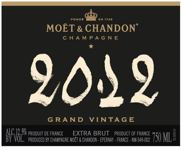 Moet & Chandon Grand Vintage Extra Brut 2012  Front Label