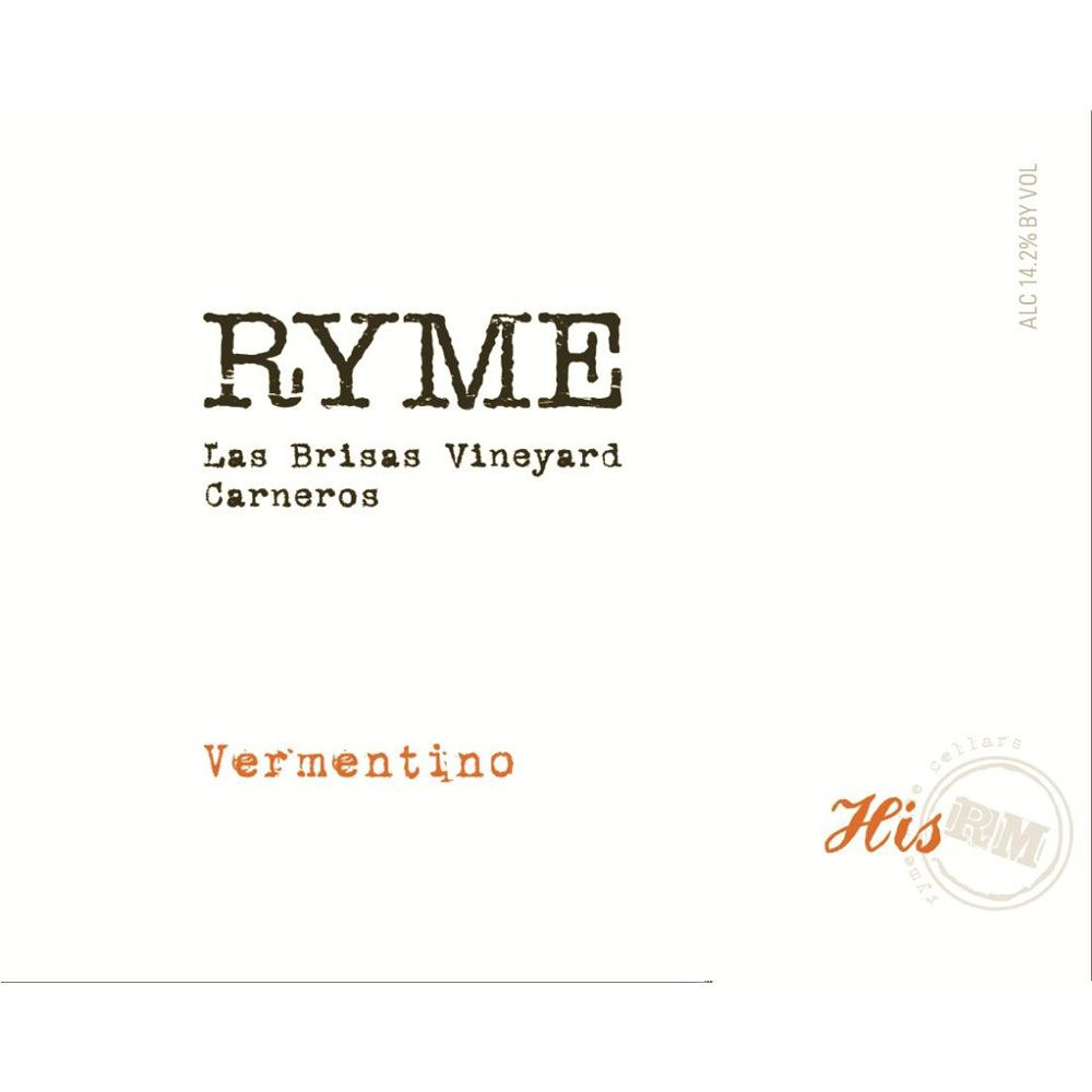 Ryme Las Brisas Vineyard His Vermentino 2017  Front Label
