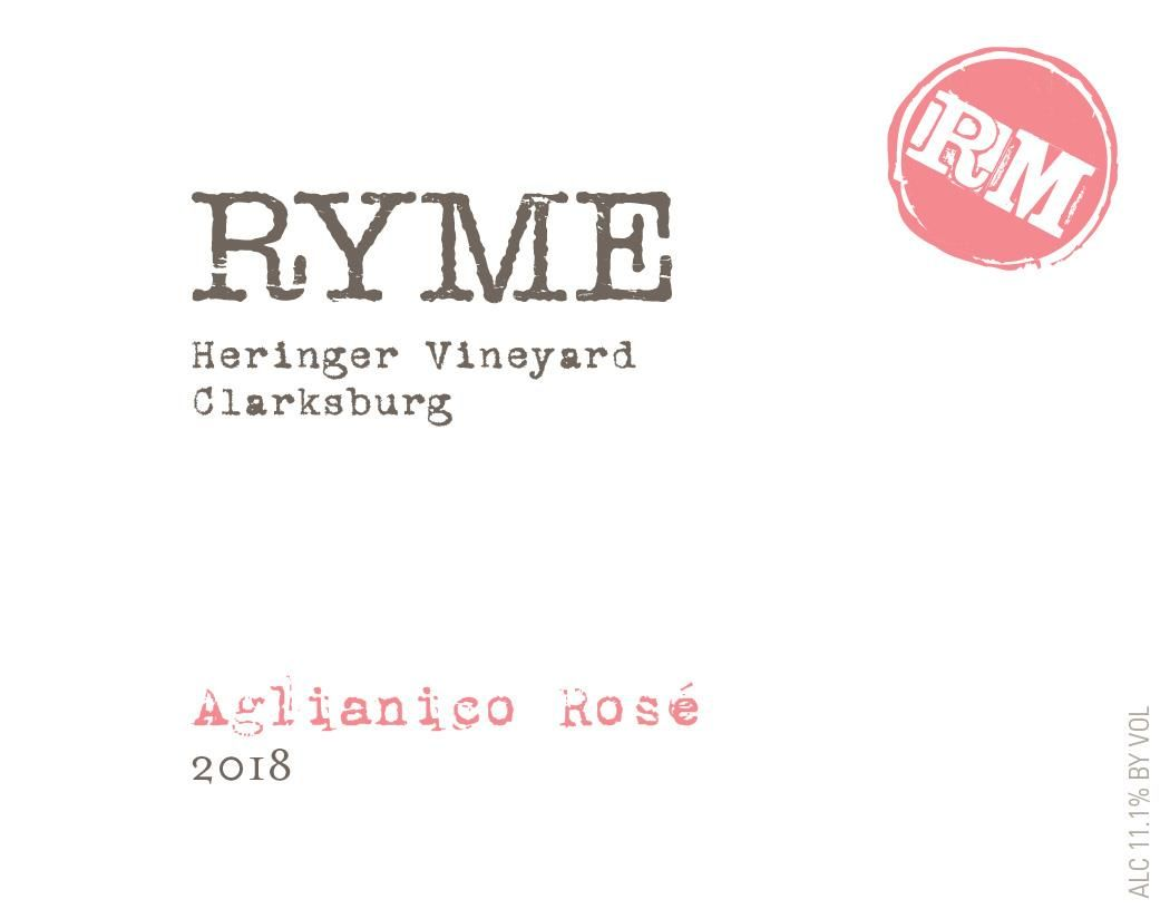 Ryme Aglianico Rose 2018  Front Label