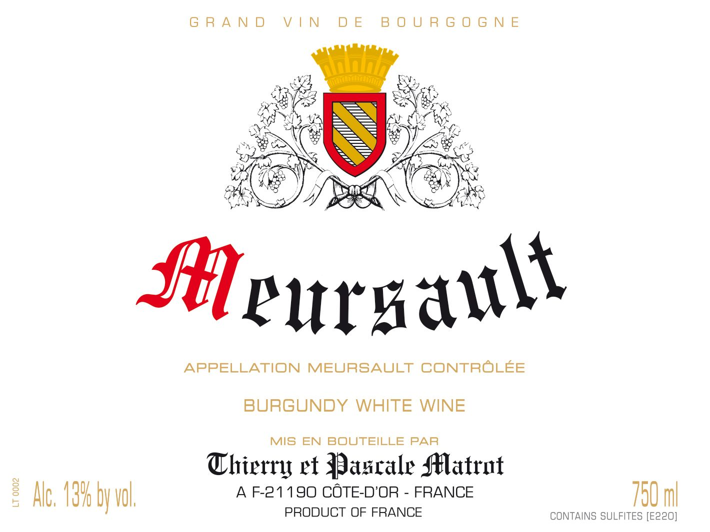 Domaine Matrot Meursault (375ML half-bottle) 2017  Front Label