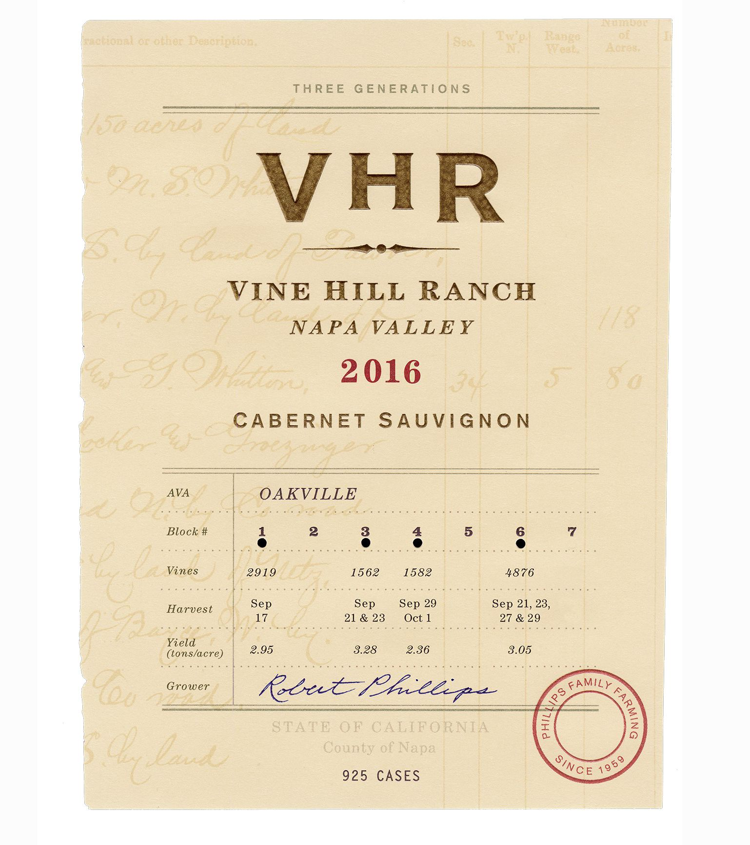 Vine Hill VHR Cabernet Sauvignon (3 bottle OWC) 2016  Front Label