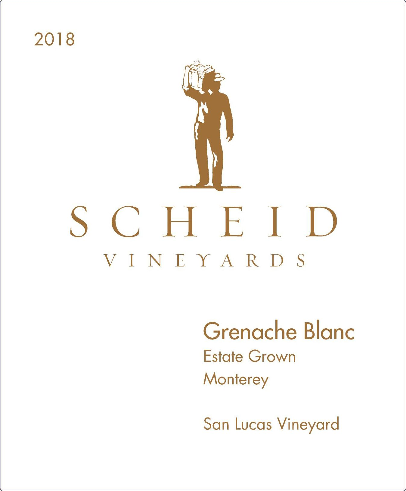 Scheid Vineyards Grenache Blanc 2018  Front Label