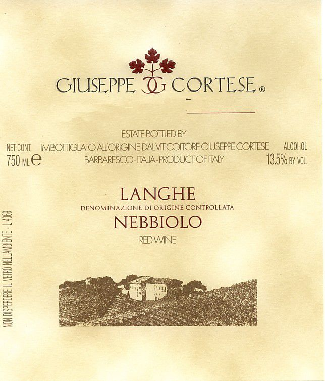 Giuseppe Cortese Langhe Nebbiolo 2018 Front Label