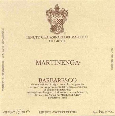 Marchesi di Gresy Barbaresco Martinenga 2016  Front Label