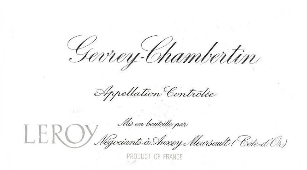 Domaine Leroy Gevrey-Chambertin (signs of seepage) 2004 Front Label