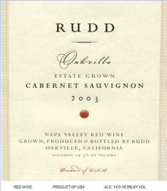 Rudd Cabernet Sauvignon Estate Grown 2003  Front Label