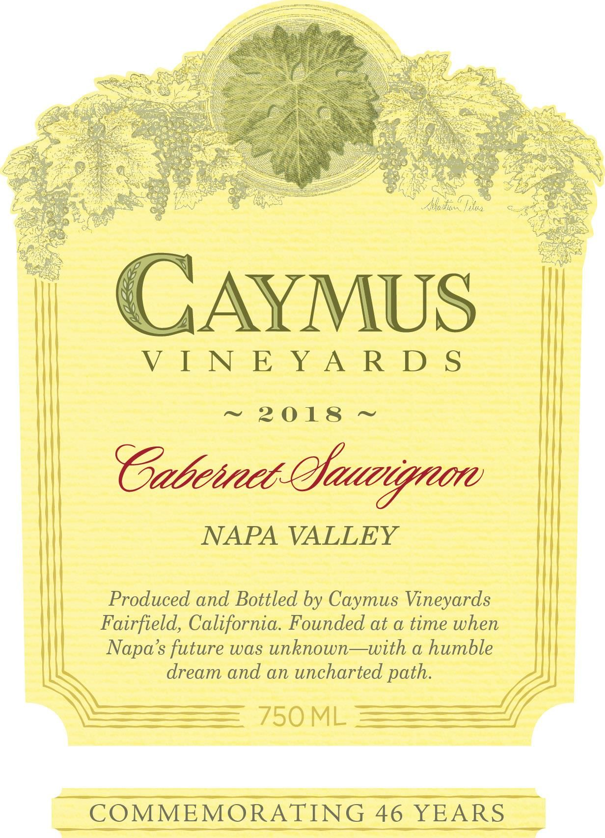 Caymus Napa Valley Cabernet Sauvignon (375ML half-bottle) 2018  Front Label