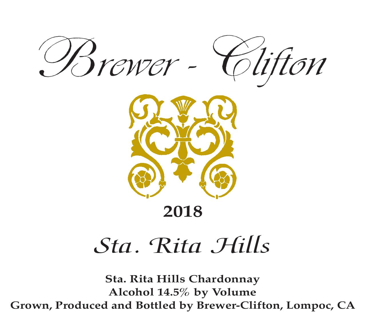 Brewer-Clifton Sta. Rita Hills Chardonnay 2018  Front Label
