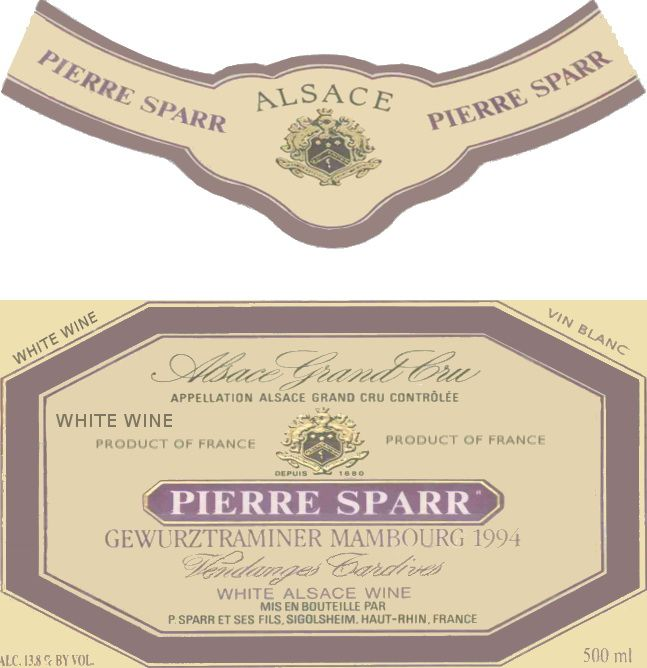 Pierre Sparr Alsace Vendanges Tardives Gewurztraminer 2005  Front Label
