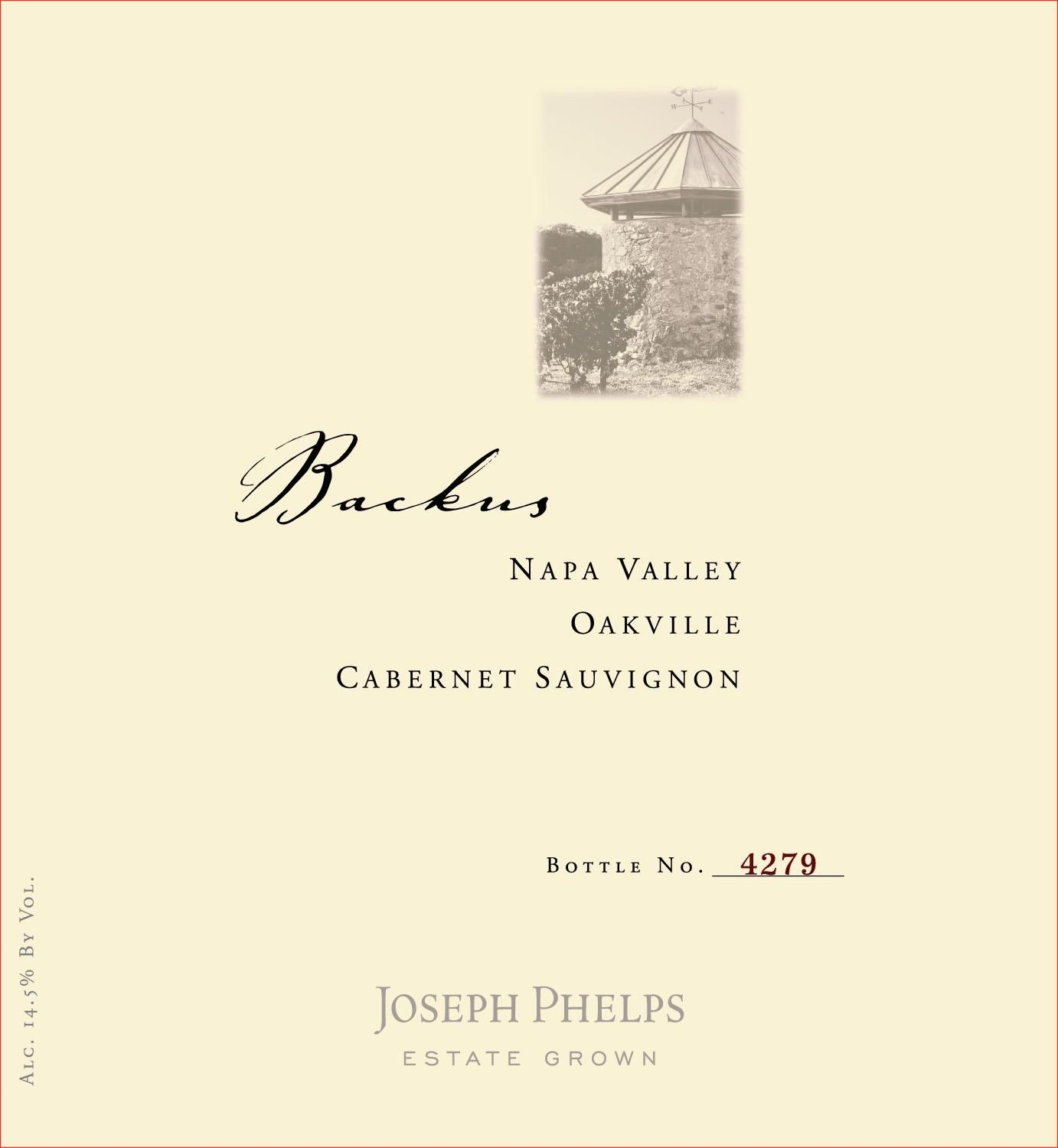 Joseph Phelps Backus Vineyard Cabernet Sauvignon 2015  Front Label