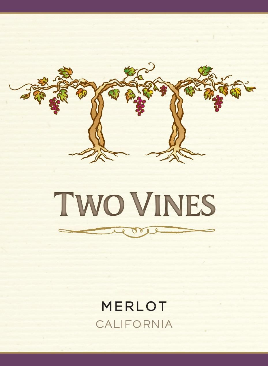 Two Vines California Merlot  Front Label