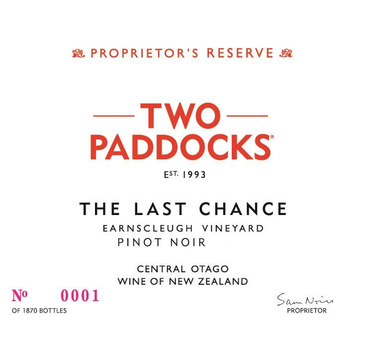 Two Paddocks The Last Chance Pinot Noir 2016 Front Label
