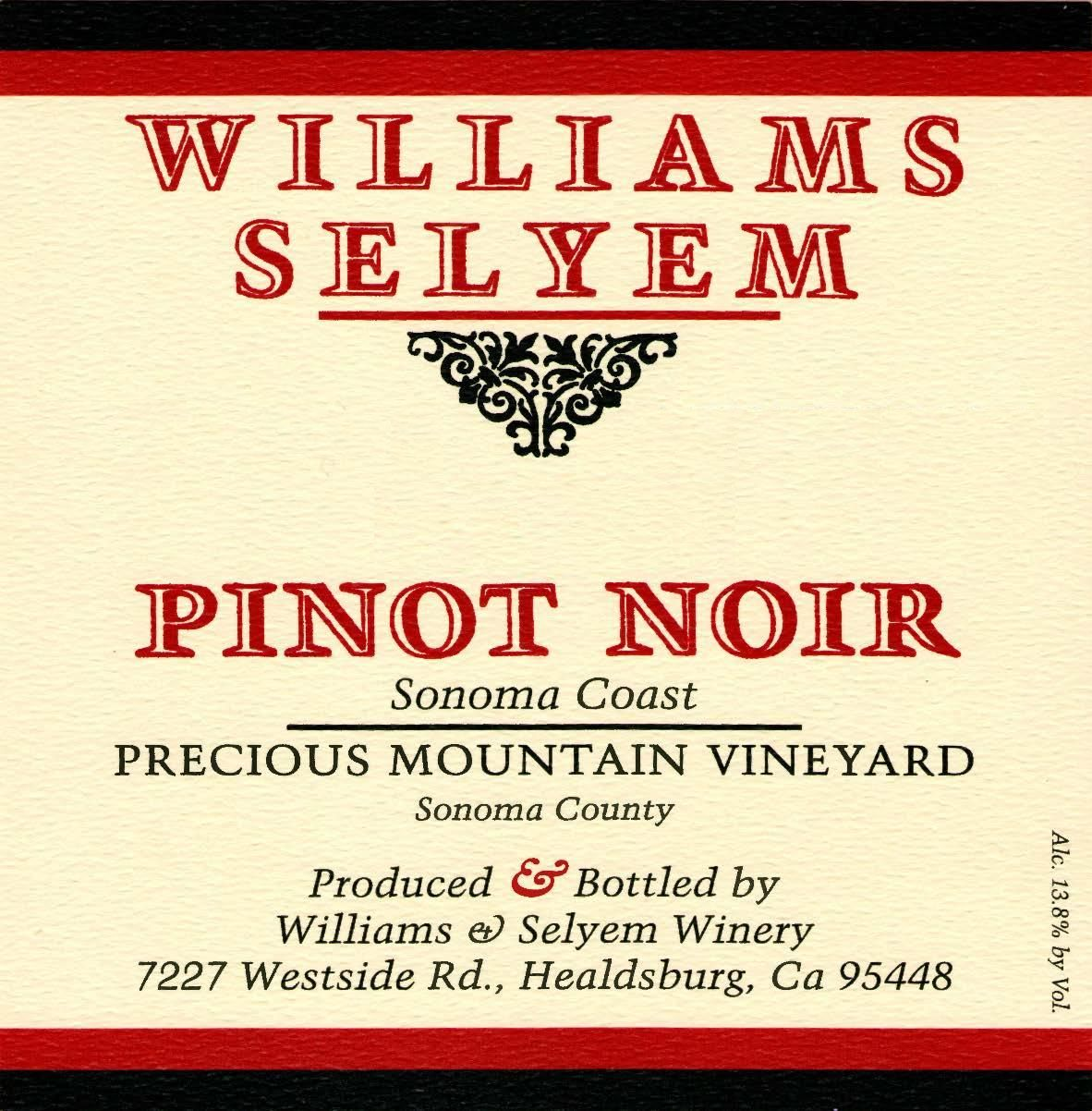 Williams Selyem Precious Mountain Pinot Noir 2017  Front Label