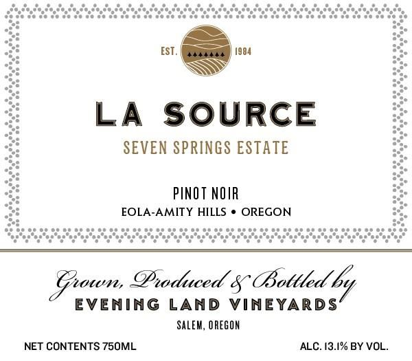 Evening Land Seven Springs Vineyard La Source Pinot Noir 2016  Front Label