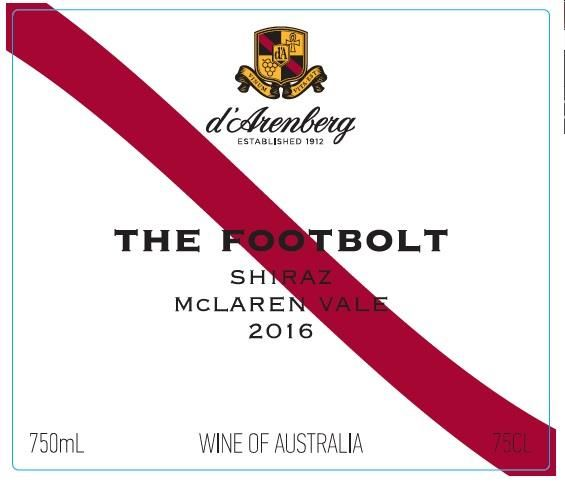 d'Arenberg The Footbolt Shiraz 2016 Front Label