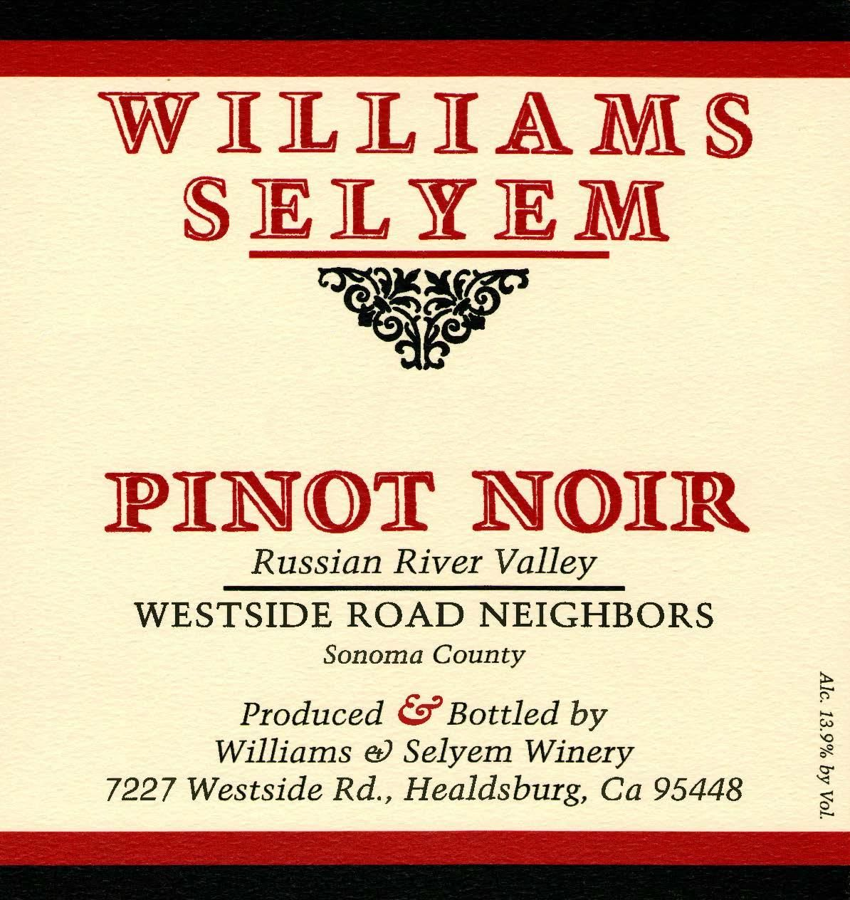 Williams Selyem Westside Road Neighbors Pinot Noir 2018  Front Label