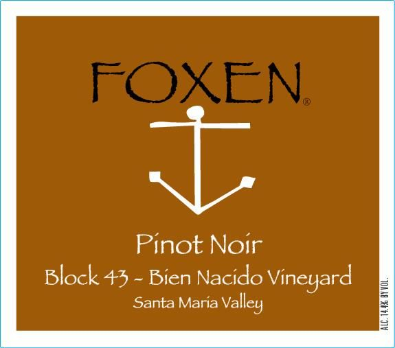Foxen Block 43 Bien Nacido Vineyard Pinot Noir 2016  Front Label
