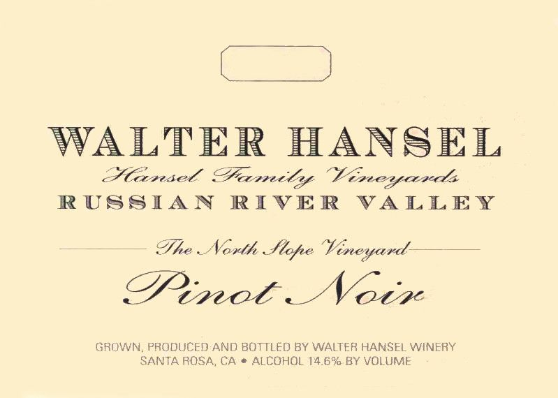 Walter Hansel North Slope Pinot Noir 2017  Front Label