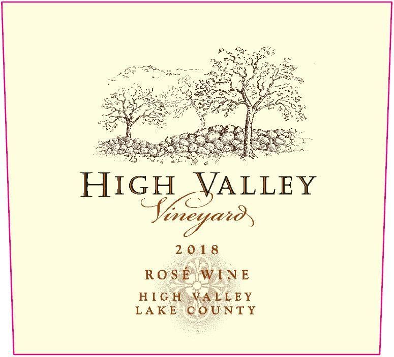High Valley Vineyards Rose 2018 Front Label