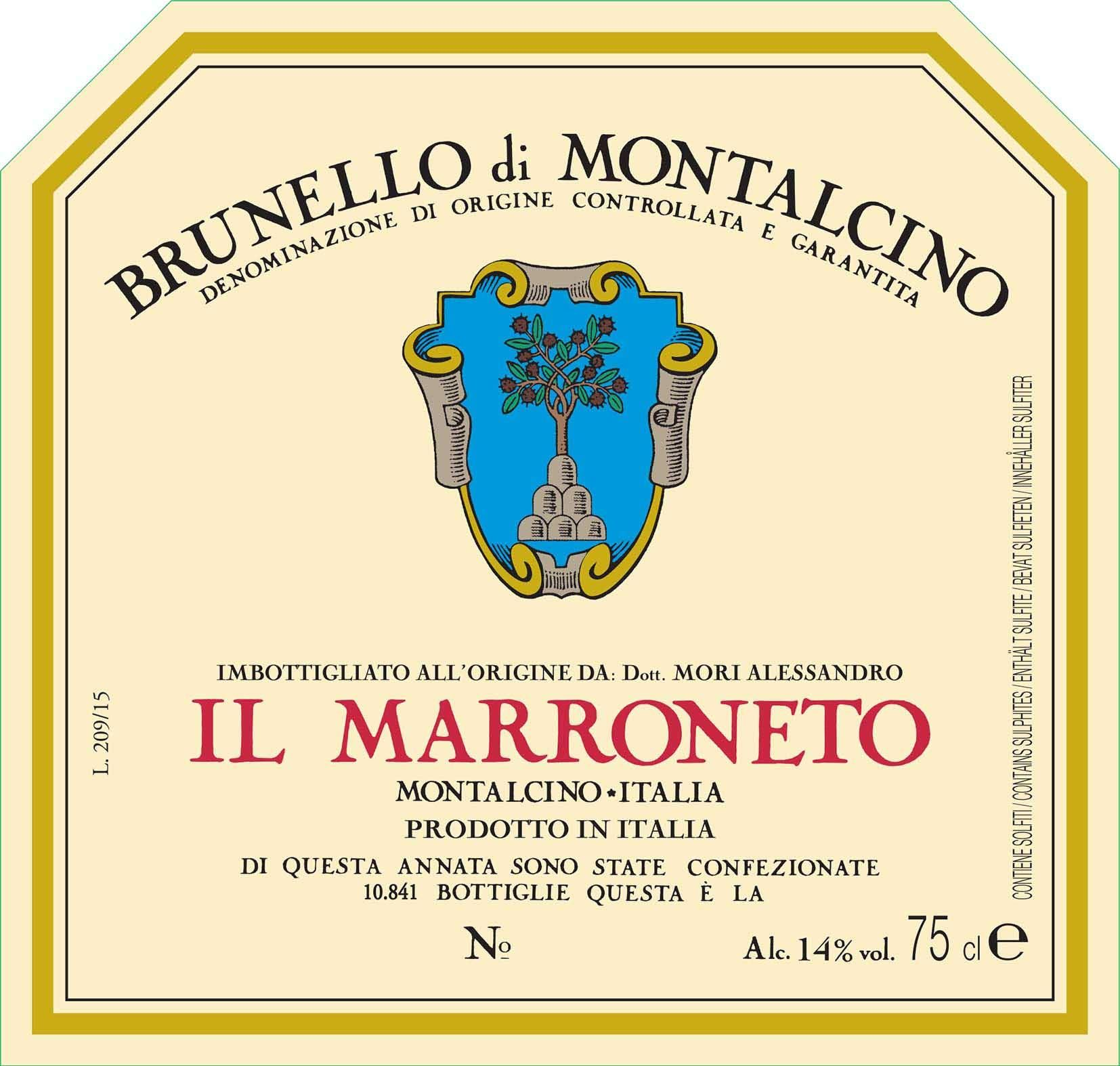 Il Marroneto Brunello di Montalcino 2015  Front Label