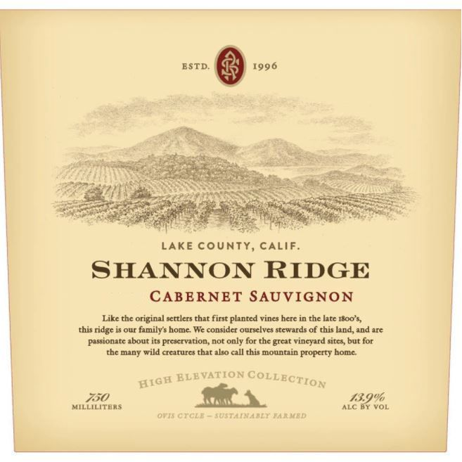 Shannon Ridge High Elevation Cabernet Sauvignon 2018  Front Label