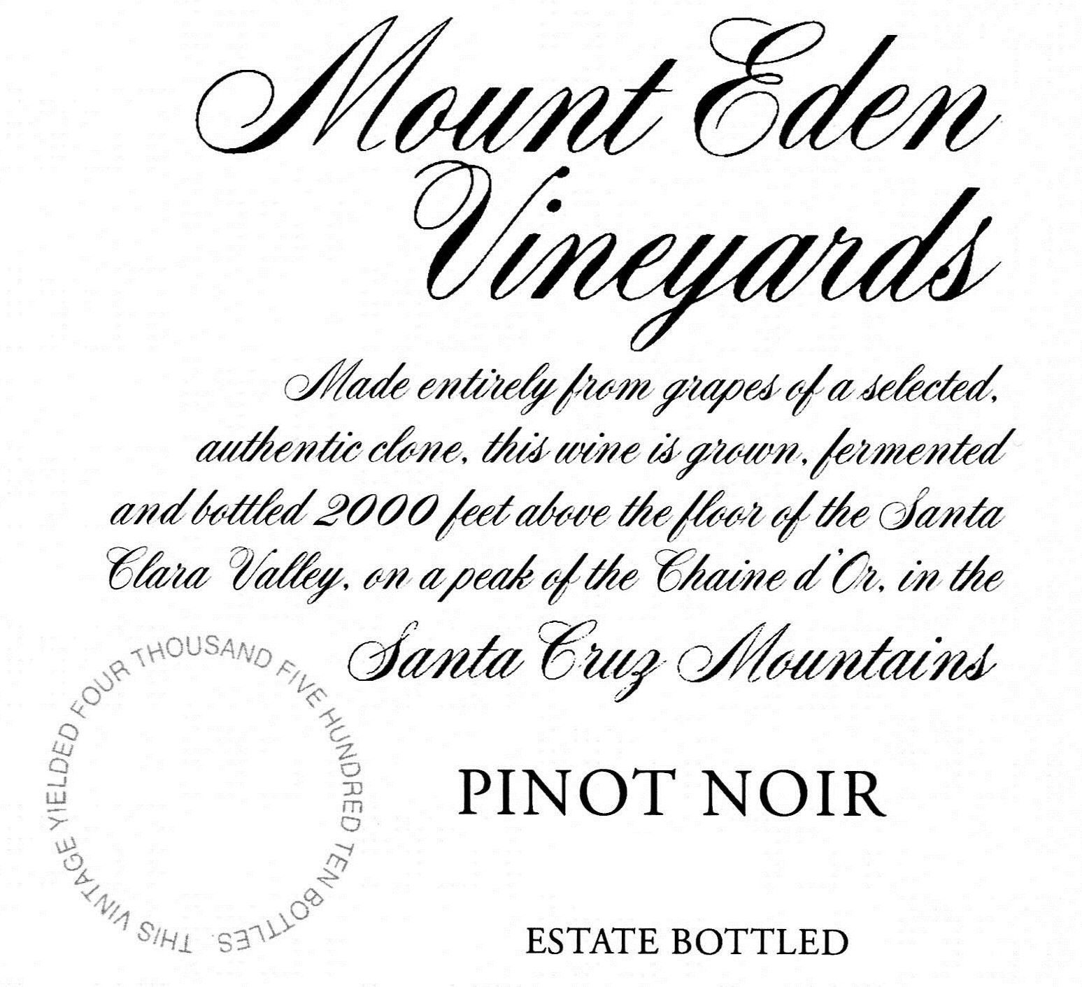 Mount Eden Vineyards Estate Pinot Noir 2013  Front Label