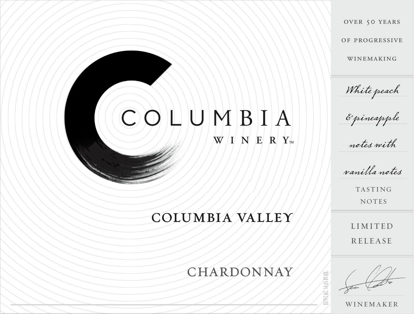 Columbia Winery Chardonnay 2016 Front Label