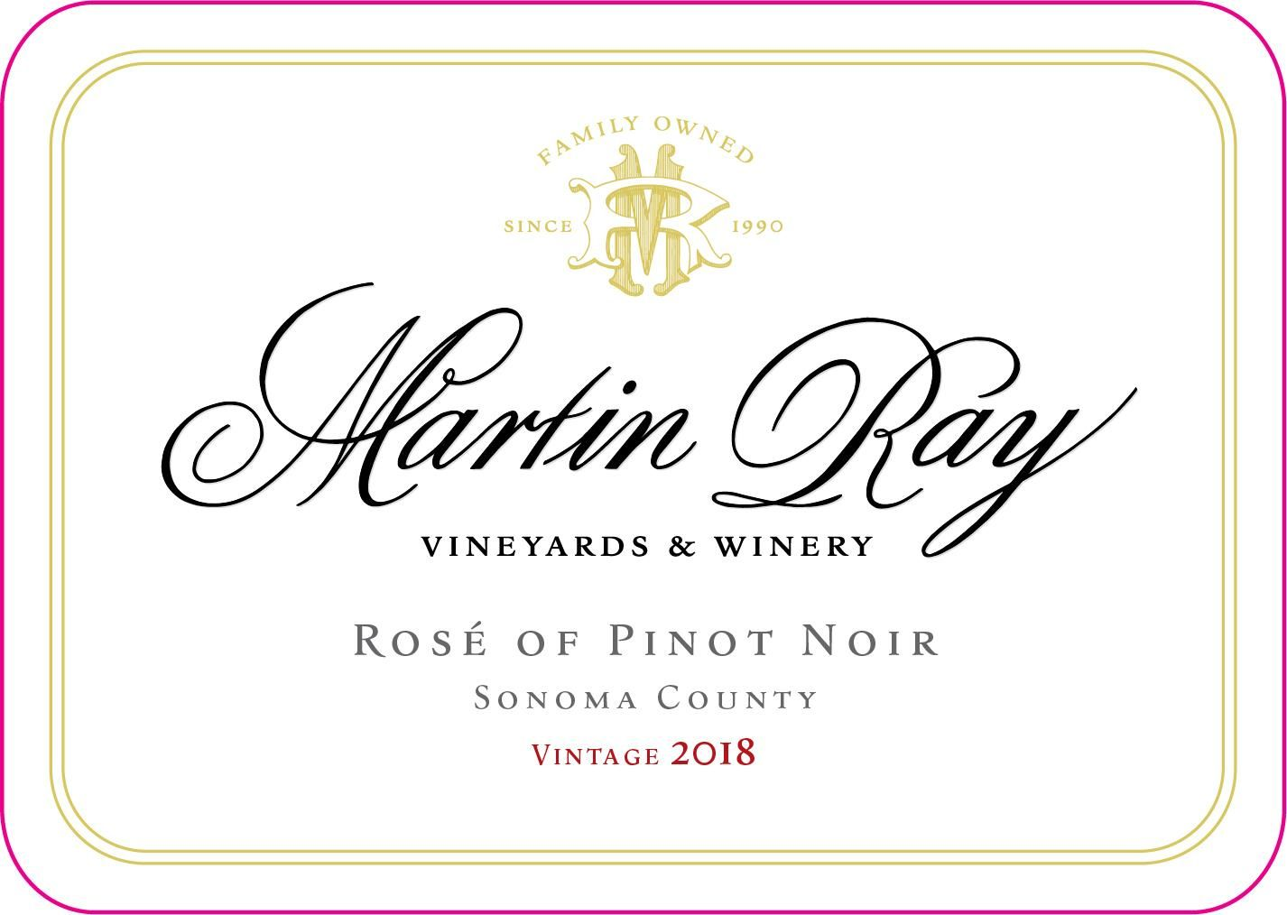 Martin Ray Rose of Pinot Noir 2018 Front Label