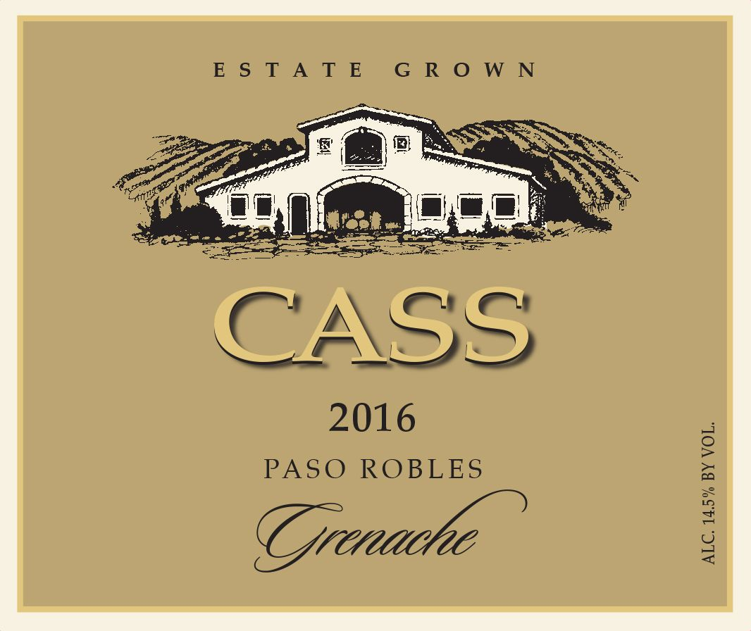 Cass Winery Grenache 2016  Front Label