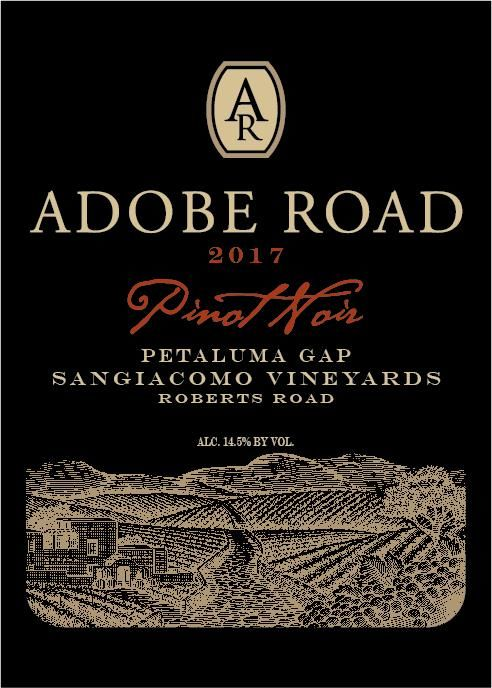 Adobe Road Sangiacomo Vineyard Pinot Noir 2017  Front Label