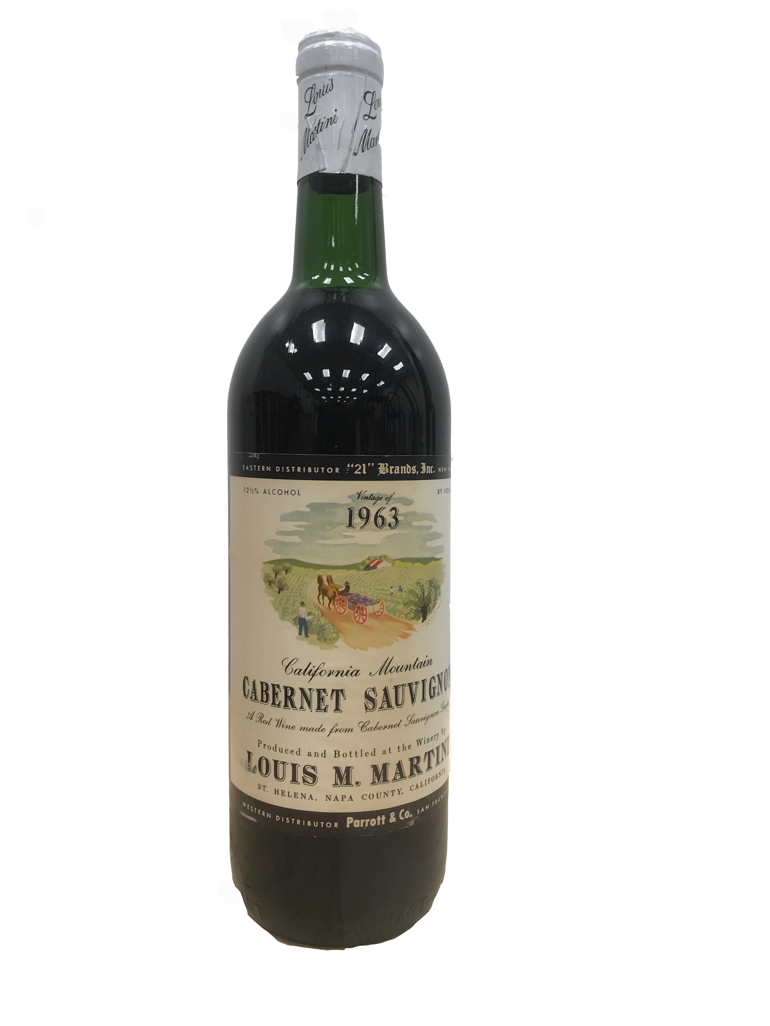 Louis Martini Cabernet Sauvignon 1963  Front Bottle Shot