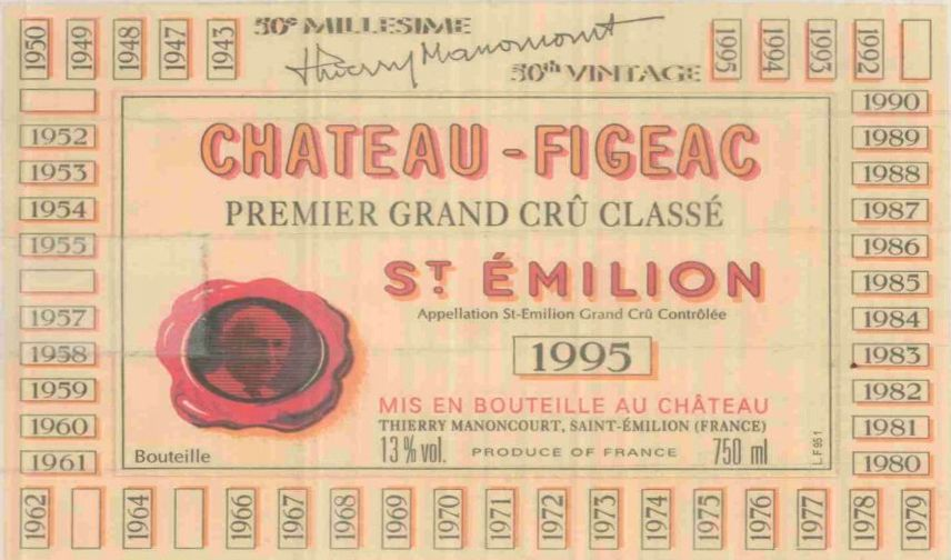 Chateau Figeac  1995 Front Label