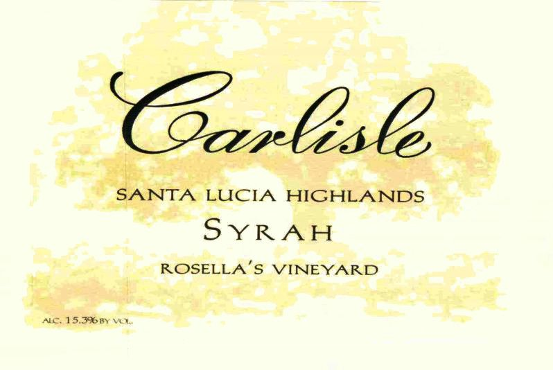 Carlisle Santa Lucia Highlands Rosella's Vineyard Syrah 2015 Front Label