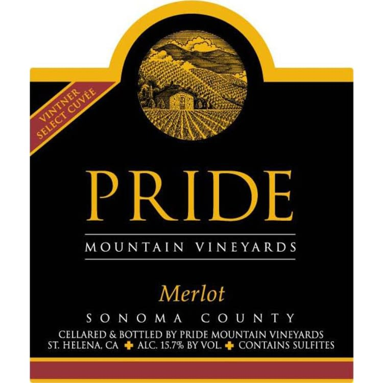 Pride Mountain Vineyards Vintner Select Merlot 2000 Front Label