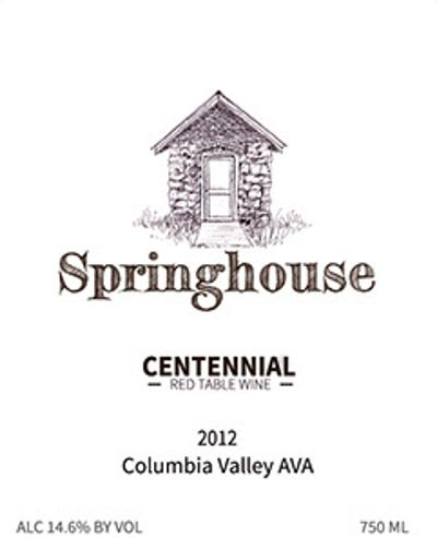 Springhouse Cellar Winery Centennial Red 2012  Front Label