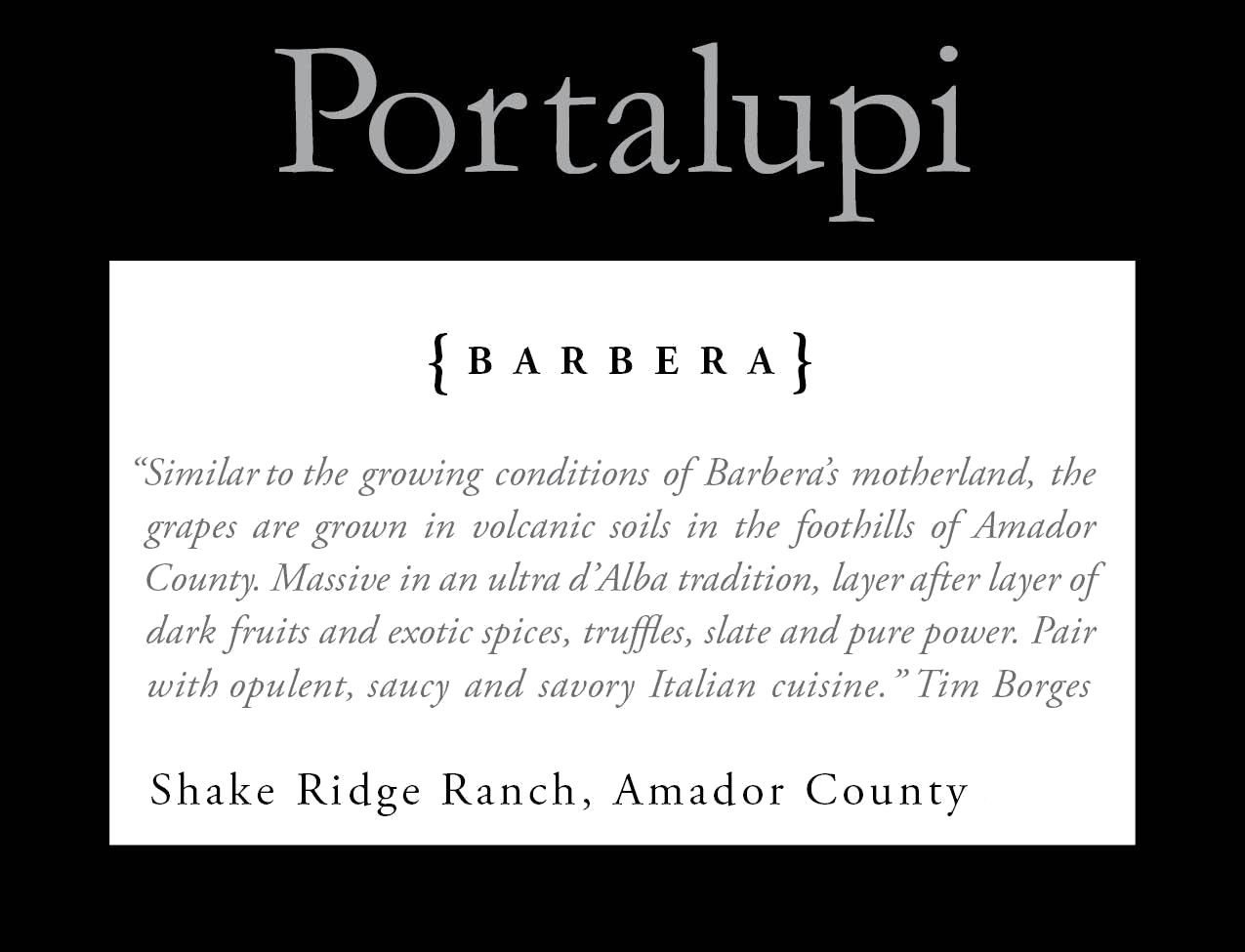 Portalupi Shake Ridge Ranch Barbera 2016 Front Label