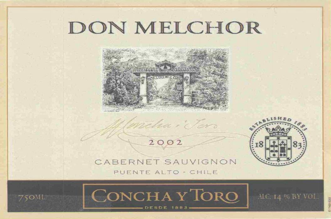 Don Melchor Cabernet Sauvignon (stained label) 2002  Front Label