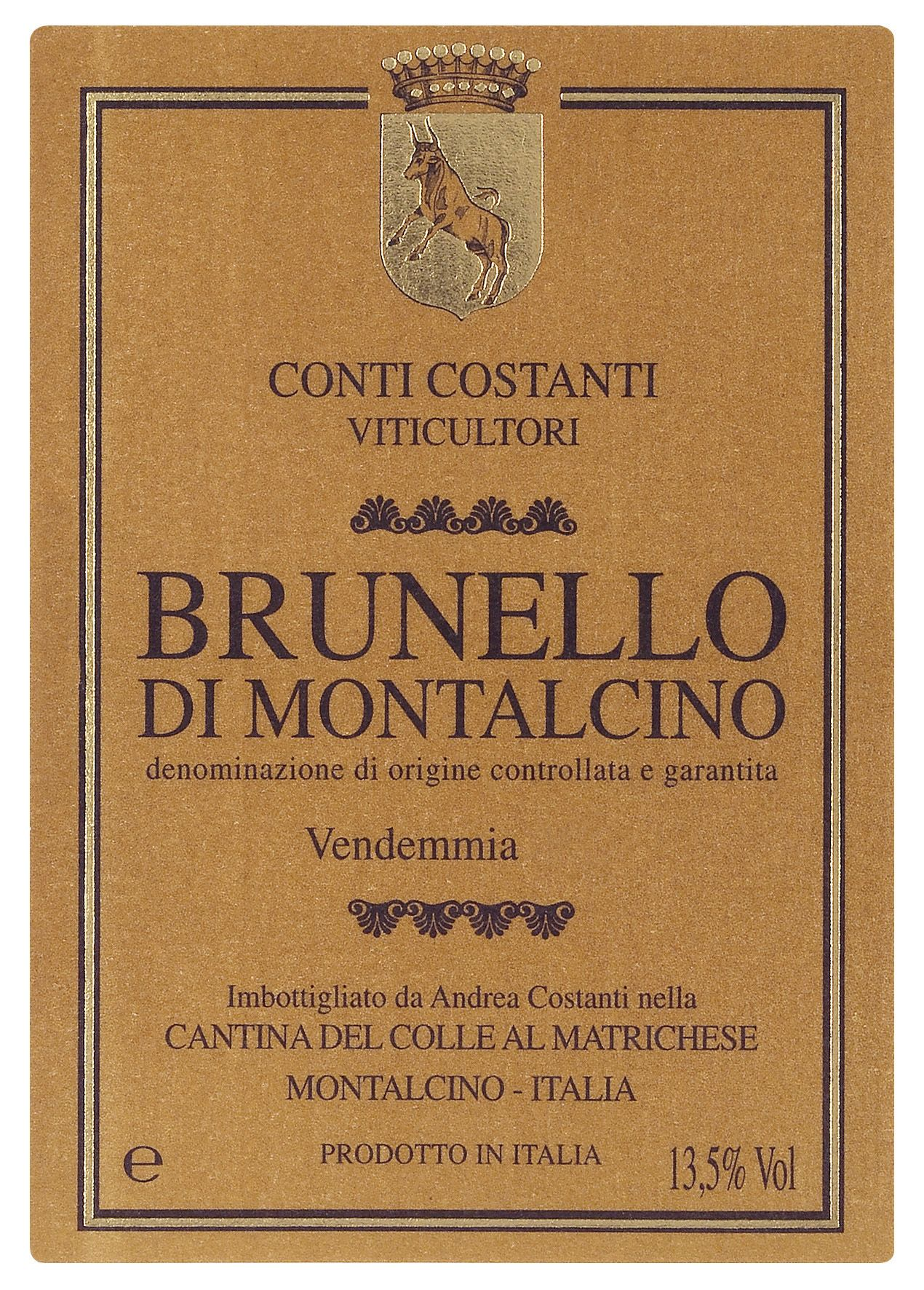 Conti Costanti Brunello di Montalcino (375ML half-bottle) 2013  Front Label